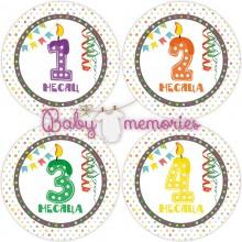 """Наклейки с месяцами для новорожденных """"Веселый праздник"""""""