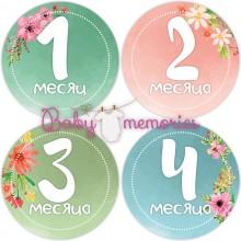 """Наклейки с месяцами для новорожденных """"Важный повод для цветов"""""""