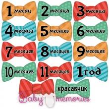 Наклейки бабочки с месяцами для новорожденных - модель 146