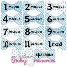 Наклейки бабочки с месяцами для новорожденных - модель 147