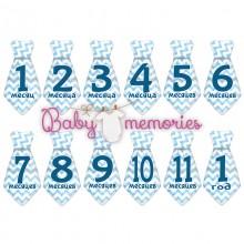 Наклейки галстуки с месяцами для новорожденных - модель 149