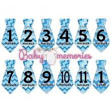 Наклейки галстуки с месяцами для новорожденных - модель 150