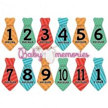 Наклейки галстуки с месяцами для новорожденных - модель 151