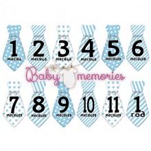 Наклейки галстуки с месяцами для новорожденных - модель 152