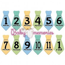 Наклейки галстуки с месяцами для новорожденных - модель 153
